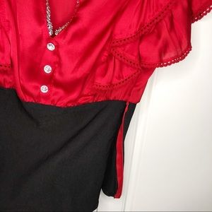 SEDUCE Tops - Seduction Small Women Blouses Red Black Shirt